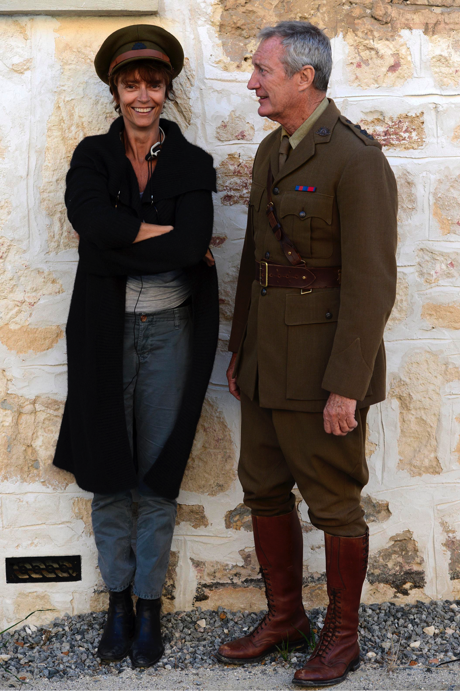 Rachel Ward and Bryan Brown during the shooting of the film An Accidental Soldier © Newton Films Australia 2016 and GoalPost Pictures 2016.